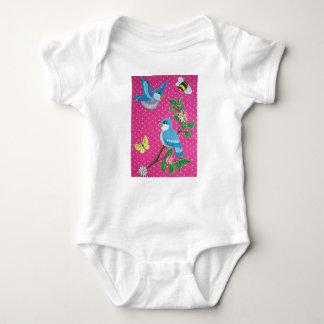Shabby Chic-Drosseln auf rosa Baby Strampler