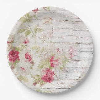 Shabby Chic-Holz und Rosen-Papierplatte Pappteller