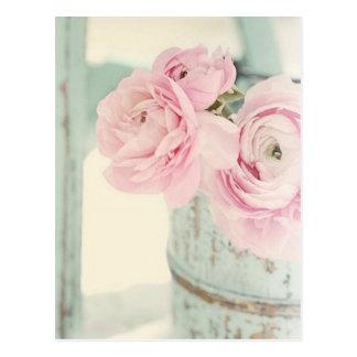 Shabby Chic-Krug rosa Blumen Postkarte