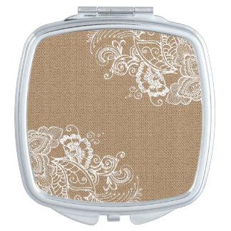 Shabby Chic-Leinwand und Spitze-kompakter Spiegel Taschenspiegel