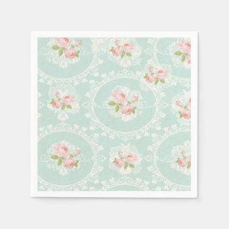Shabby Chic-Minze u. rosa Cocktail-Servietten Papierservietten