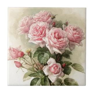 Shabby Chic-rosa viktorianische Rosen Kleine Quadratische Fliese