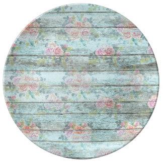 Shabby Chic-Rosen-Blumen-hölzernes blaues Vintages Porzellanteller