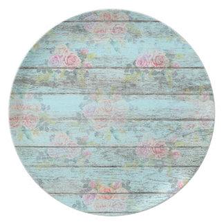 Shabby Chic-Rosen-Blumen-hölzernes blaues Vintages Teller