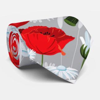 Shabby Chicmohnblumen und Gänseblümchen- rot und Bedruckte Krawatte