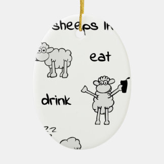 sheeps life monday ovales keramik ornament