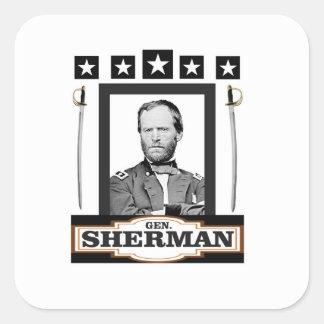 Sherman hat Schwerter in der Hauptrolle Quadratischer Aufkleber