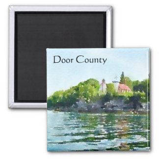 Sherwood Punkt-Aquarell Door County Quadratischer Magnet