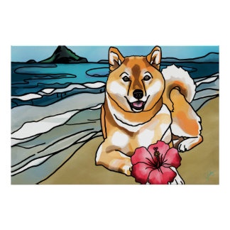 Shiba Inu am Hut des Chinamans, Hawaii Poster