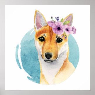 Shiba Inu mit Blumen-Kronewatercolor-Malerei Poster