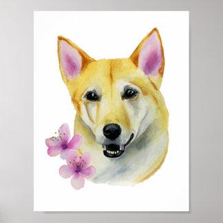 Shiba Inu mit Kirschblüte-Aquarell-Malerei Poster
