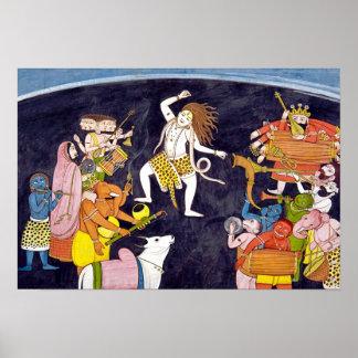 Shiva, das indische Malerei tanzt Poster