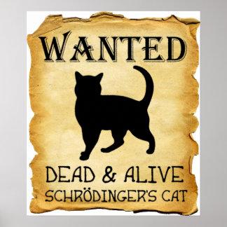 Shrodingers Katzen-lustiges Plakat