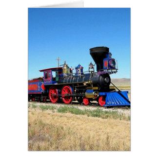 Sich fortbewegendes Dampf-Motor-Zug-Foto Grußkarte