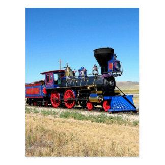 Sich fortbewegendes Dampf-Motor-Zug-Foto Postkarte