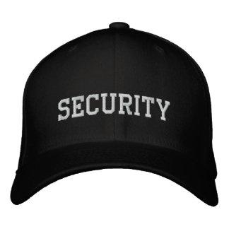 Sicherheit gestickt im Weiß auf schwarzem cap hat Bestickte Kappe