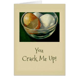 Sie knacken mich oben! Gebrochene Eier, Dank für Karte