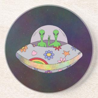 Sie kommen in Friedens-UFO Sandstein Untersetzer