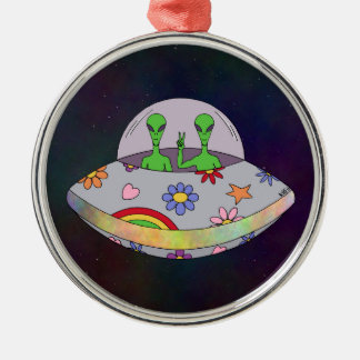 Sie kommen in Friedens-UFO Silbernes Ornament