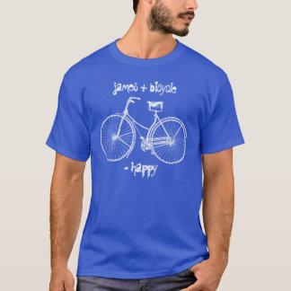 Sie plus Fahrrad entsprechen glücklichem T-Shirt