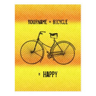Sie plus Fahrrad-Gleichgestellt-glückliches Postkarte