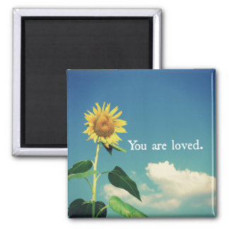 Sie werden mit Sonnenblume geliebt Quadratischer Magnet