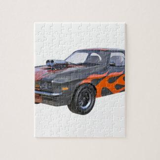 Siebzigerjahre Muskel-Auto in den orange Flammen Puzzle