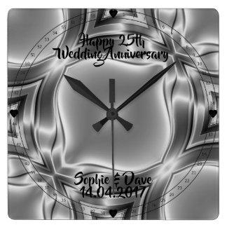 Silber-Linien 25. silberner Hochzeitstag Quadratische Wanduhr