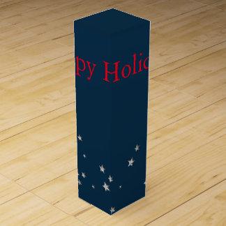 Silber-Sterne auf Blau, Weihnachten Weinbox