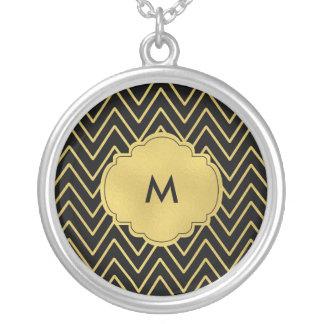 Silber überzogene Halskette - Zickzack Monogramm