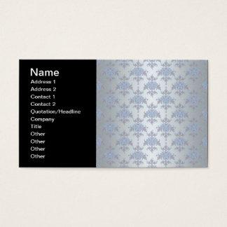 Silber und hellblauer extravaganter Damast Visitenkarte