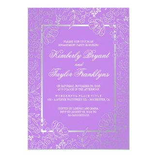 Silber und lila Vintages Verlobungs-mit 12,7 X 17,8 Cm Einladungskarte