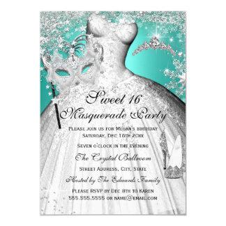 Silberne aquamarine Prinzessin Masquerade Sweet 16 12,7 X 17,8 Cm Einladungskarte