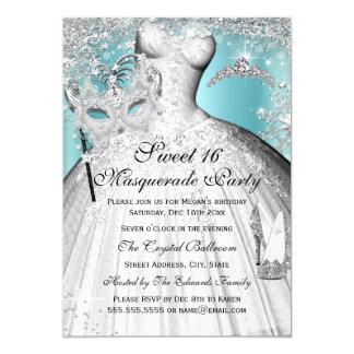 Silberne blaue Prinzessin Masquerade Sweet 16 12,7 X 17,8 Cm Einladungskarte