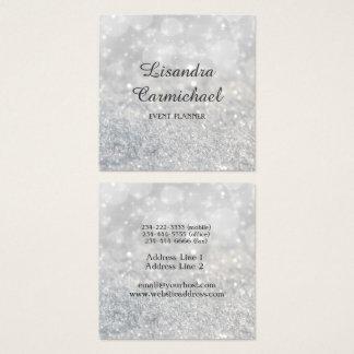 Silberne Bokeh Schein-Event-Planer-Visitenkarten Quadratische Visitenkarte
