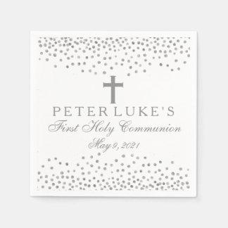 Silberne Confetti-Kommunions-personalisierte Servietten