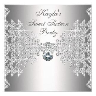 Silberne Diamant-weißes 16 Individuelle Einladungen