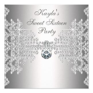Silberne Diamant-weißes 16. Quadratische 13,3 Cm Einladungskarte