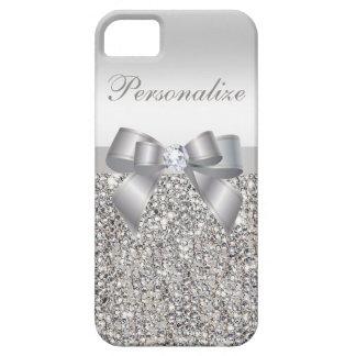 Silberne DruckPaillette, Bogen u. Diamant Etui Fürs iPhone 5