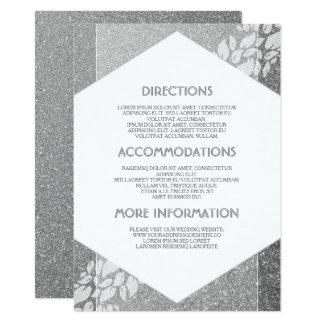 Silberne Glitter-Hochzeits-Details - Informationen Karte