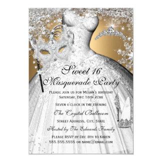 Silberne Goldprinzessin Masquerade Sweet 16 laden 12,7 X 17,8 Cm Einladungskarte