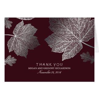 Silberne Herbstlaub-Burgunder-Hochzeit danken Mitteilungskarte