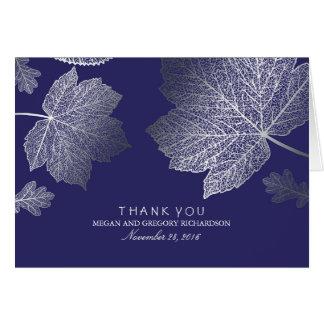 Silberne Herbstlaub-Marine-Hochzeit danken Ihnen Mitteilungskarte