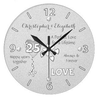Silberne Hochzeits-25. Jahrestags-Uhr Wanduhren