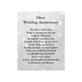 Silberne Hochzeits-Jahrestags-Leinwand Leinwand Druck