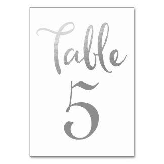 Silberne Hochzeits-Tischnummer-Typografie-Karten Karte