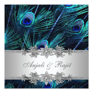 Silberne Königsblau-Pfau-Hochzeit Quadratische 13,3 Cm Einladungskarte