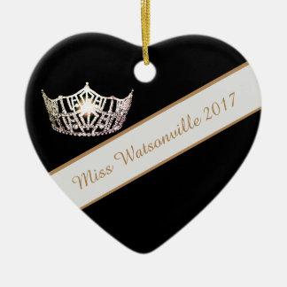 Silberne Krone Miss Amerikas u. Schärpe-Verzierung Keramik Ornament