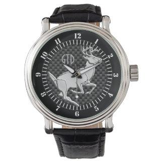 Silberne laufende Rotwild auf Armbanduhr