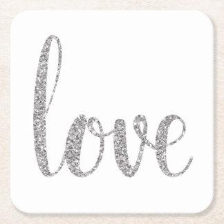 Silberne Liebe-Untersetzer, Glitter, Quadrat Kartonuntersetzer Quadrat